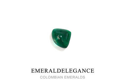 1.32 CT, CARVING CABOCHON FINE NATURAL COLOMBIAN EMERALD Gem Very Good Intense G