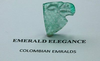 5.17 CT, CARVING EAGLE FINE NATURAL COLOMBIAN EMERALD Cameos Ligth Green