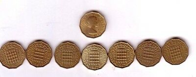 Coins GB Elizabeth II Threepence small collection of seven pre decimal dates