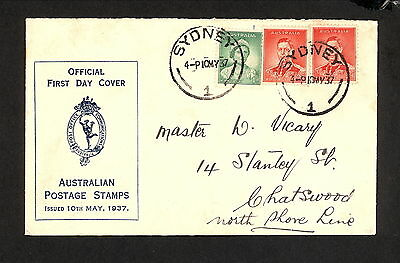 FDC 1937  1d Grn & 2d Red KGVI First Day Cover (4439.x)