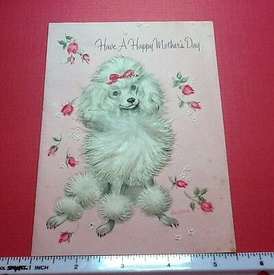 #C141- Vintage Marjorie M. Cooper Greeting Card Poodle & Feather & Accents