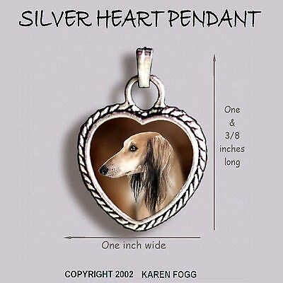SALUKI DOG - Ornate HEART PENDANT Tibetan Silver