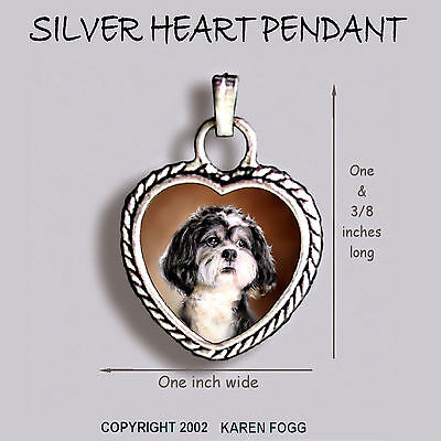 SHIH TZU DOG Pet Cut- Ornate HEART PENDANT Tibetan Silver