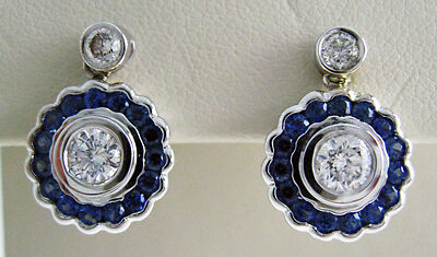 18K White Gold .70 ct Diamond and Sapphire Earrings
