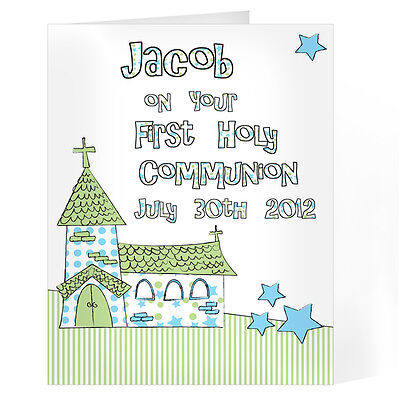 personalised whimsical church blue 1st first holy communion card gc00188