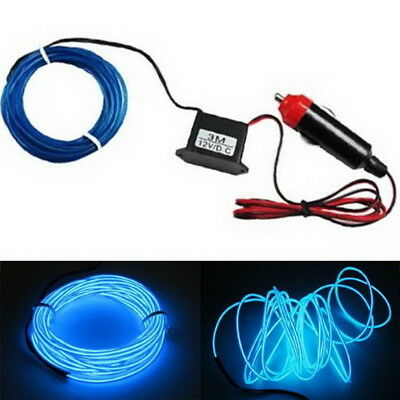 10ft Flexible Blue EL Neon Glow Lighting Strip + Charger For Car Interiror Deco