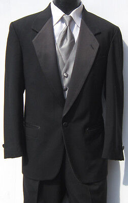 Mens Black One Button Notch Tuxedo Package Prom Wedding Discount Bargain 44S