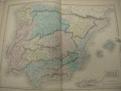 Spain And Portugal, Antique Map Black's 1856 World Atlas, Europe