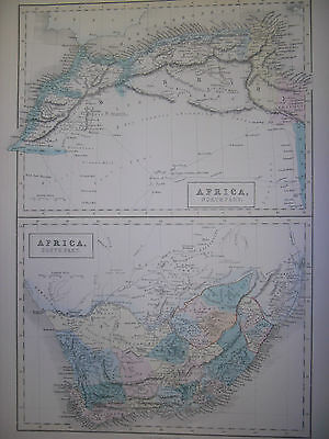 NORTH and SOUTH AFRICA: GENUINE ANTIQUE MAP: BLACK'S 1856 WORLD ATLAS, LARGE