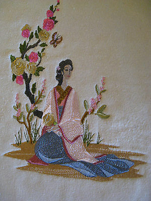 """Chinoiserie """"Lady with Butterfly"""" Panel Mach. Emb."""