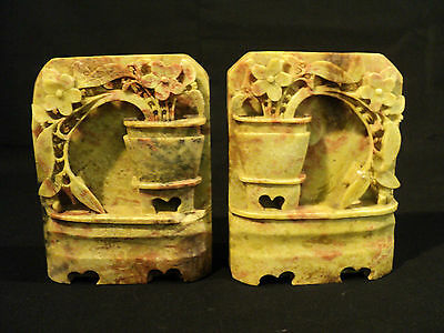 UNUSUAL PAIR of ANTIQUE CHINESE CARVED SOAPSTONE BOOKENDS