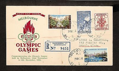 FDC 1956   MELBOURNE OLYMPICS SET OF 4 FDC REGISTERED Toowoomba (3969.125)