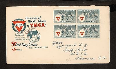 FDC 1955   YWCA WORLD CENTENNIAL First Day Cover BLOCK of 4 (3974.100)
