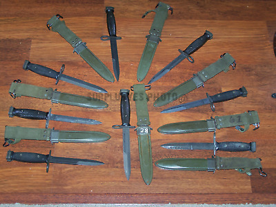 Knife Bayonet & M8A1Scabbard Sheath USGI Military USMC Army Vietnam War w P38