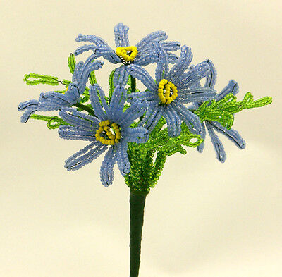 Vintage French Glass Beaded Blue Daisy Flower Bouquet
