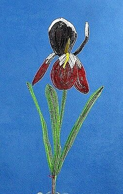 Vintage French Glass Beaded Burgandy Red  Iris (Large) Flower Bouquet