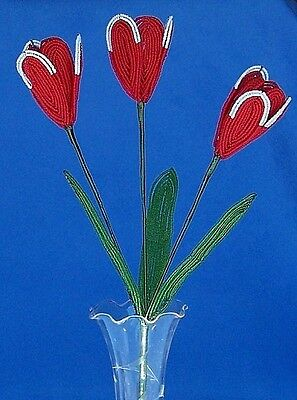 Vintage French Glass Beaded Red/White Double Tulip Flower Bouquet