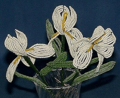 Vintage French Glass Beaded White Iris Flower Bouquet