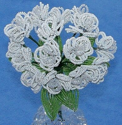 Vintage French Glass Beaded White Opaline Double Violet (15) Flower Bouquet