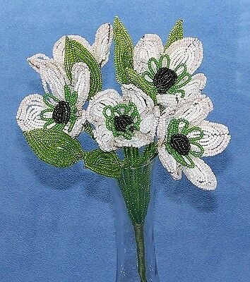 Vintage French Glass Beaded White Poppy Anemone Flower Bouquet