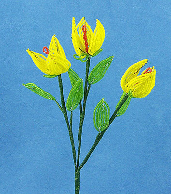 Vintage French Glass Beaded Yellow Tulip (3) Flower Bouquet