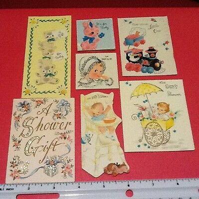 #C464- Vintage Lot Of 7 Die Cut New Baby Mini Greeting Cards Adorable Images!