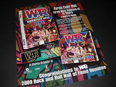 WAR 2008 Promo Display Ad 1st ever DVD & Rock and Roll Hall Of Fame Nominee