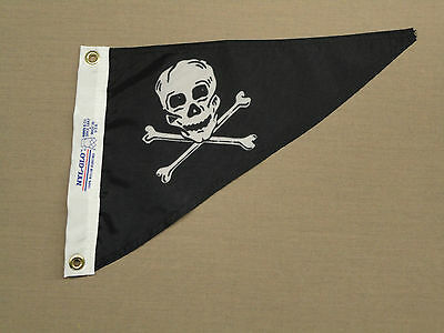 "Jolly Roger Pirate Skull and Crossbones Boating Nylon Flag Pennant @10"" X 15"""