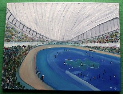""" Olympic Cycling "" Northern Art Great Original Oil Painting by John Goodlad"