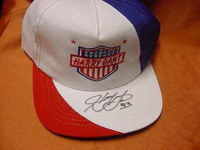 Harry Gant embroidered American Flag   Cap / Hat - autographed by Harry