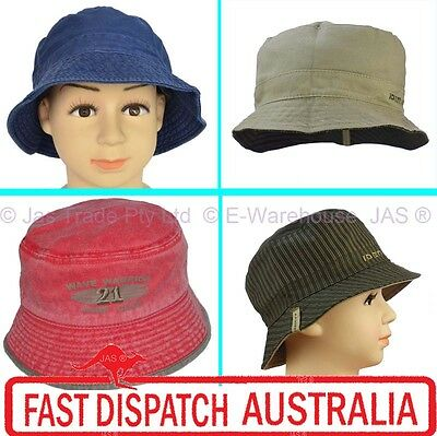 1 Kid Child Boy Toddler Bucket Cotton Sun Wide Brim Hat Cap 5 Sizes  XS S M L