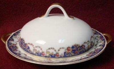ROYAL BAYREUTH china ROB2 Blue Border pattern ROUND COVERED BUTTER DISH damage