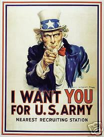 Uncle Sam I Want You for U.S. Army collectible tin sign