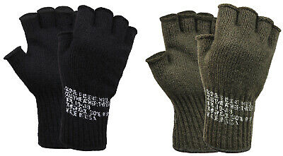 Fingerless Military Wool Gloves OD Olive Drab Black Made In USA Rothco 8410