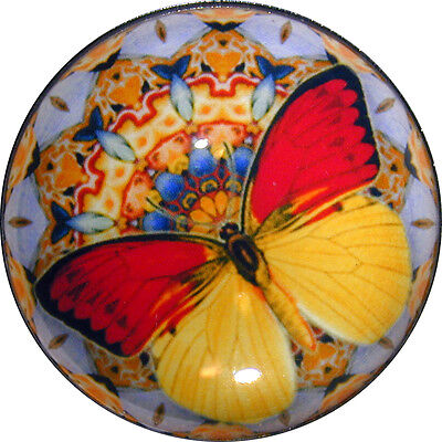 Butterfly &  Mandala Crystal Dome Button - Yellow & Red Lg Sz 1 & 3/8 inch B 49