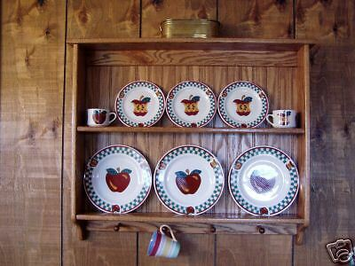 Plate Rack Display Wall Shelf Oak Wood Rack