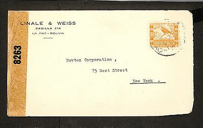 PH4872 1940s Military Postal History Cover WWII Bolivia to United States