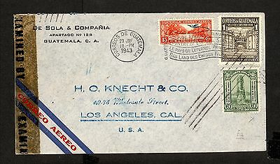 PH4877 1943 Military Postal History Cover WWII Guatemala to United States