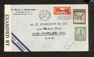 PH4881 1942 Military Postal History Cover WWII Guatemala to United States
