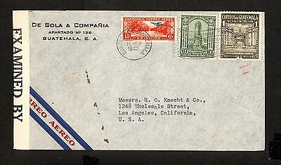 PH4883 1942 Military Postal History Cover WWII Guatemala to United States