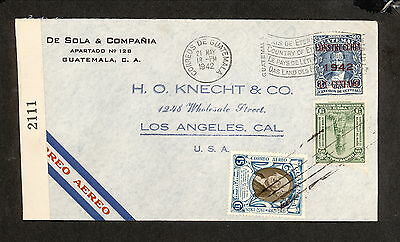 PH4884 1942 Military Postal History Cover WWII Guatemala to United States