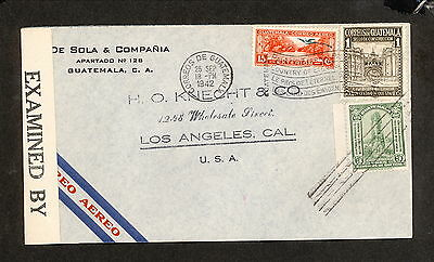 PH4890 1942 Military Postal History Cover WWII Guatemala to United States