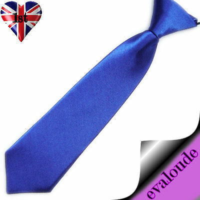ROYAL BLUE NECK TIE Boys Girls Satin Pre-tied Elasticated NEW UK Prom Wedding