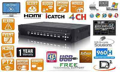 4 Channel Real time 2000GB H.264 CCTV Security DVR D1