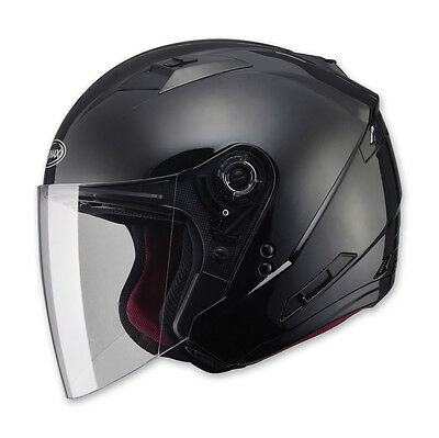 Gloss Black Cruiser Motorcycle Helmet W/ Retractable Sun Visor & Full Shield Dot