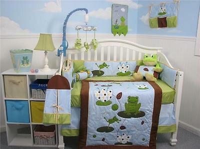 Froggies Party Baby Crib Nursery Bedding Set 13 pcs included Diaper Bag