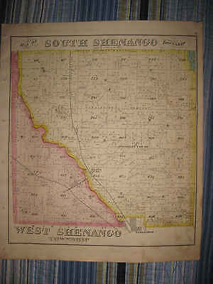 Antique 1876 West South Shenango Township Crawford County Pennsylvania Map Nr