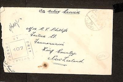 PH4744 1942 Military Postal History Cover WWII Egypt to New Zealand