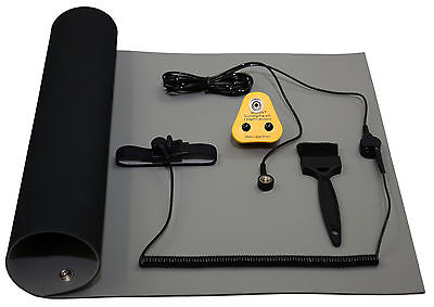 ESD, Anti-Static, Earth Bench Mat (600 X 500mm) Includes Euro Grounding Plug Kit