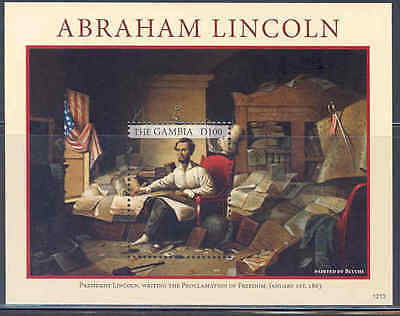 GAMBIA 2012 ABRAHAM LINCOLN WRITING THE PROCLAMATION OF FREEDOM S/S MINT NH